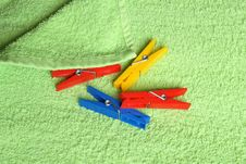 Free Variegated Clothespins On Towel Stock Photo - 6486160