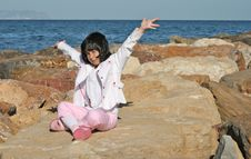 Free Little Girl In A Coast Royalty Free Stock Image - 6486326