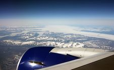Aircraft Flying Over Greenland Royalty Free Stock Photo