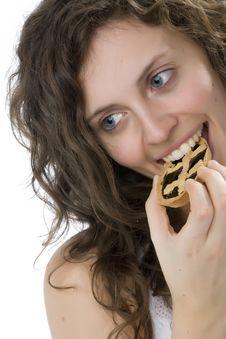 Free Beautiful Girl Eating Cake Royalty Free Stock Photos - 6486948