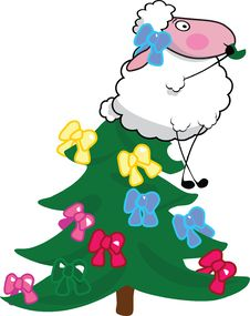 Free Sheep On Christmas Tree Royalty Free Stock Images - 6487879