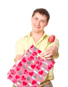 Free Young Man With Rose And Pink Bag Royalty Free Stock Photo - 6488645