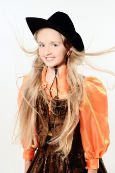 Smiling Blond Cowgirl Stock Photo