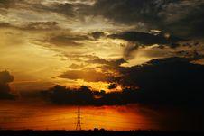 Free Orange Sunset With Tower Royalty Free Stock Photos - 6489768