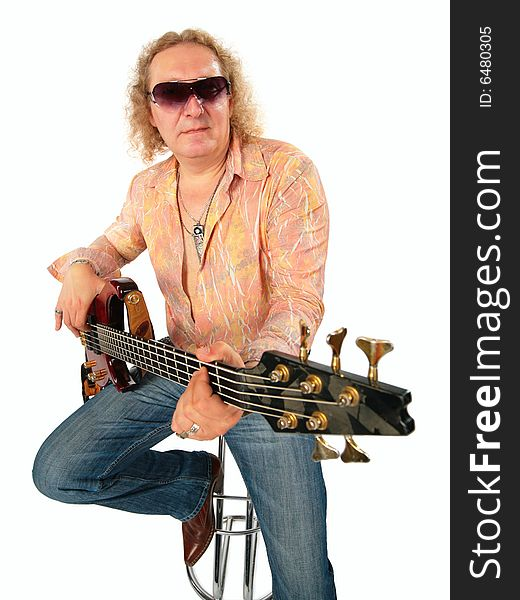 Mature man with guitar