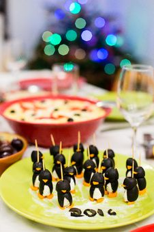 Free Cheese And Olives Handmade Penguins Stock Image - 64832991
