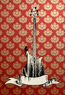 Free Vector Illustration Ofgrungy Bass Guitar Royalty Free Stock Photo - 6490075