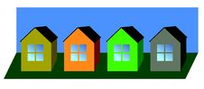 Free Colour Vector Small Houses Stock Image - 6490501