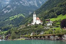Free Alps Church Mountains Switzerland Royalty Free Stock Image - 6490716