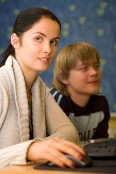 Two Students Are Doing Homework Stock Photo