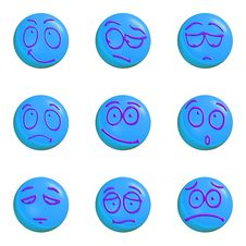Emoticon Set Blue Stock Image