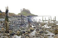 Free Lindisfarne Castle From The Beach Stock Photo - 6496170