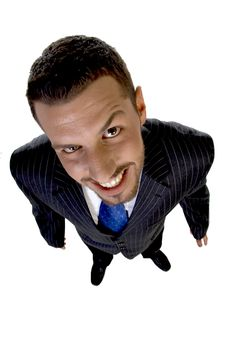 Free Standing Cheerful Executive Looking Upward Royalty Free Stock Photography - 6496367