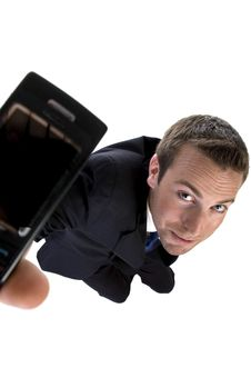 Free Young Businessman Showing His Mobile Royalty Free Stock Images - 6496489