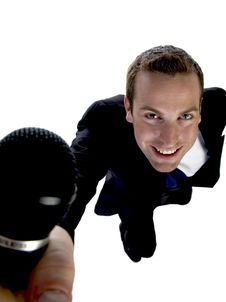 Businessman Showing His Mic Royalty Free Stock Photo