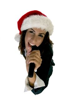 Free Female Holding Microphone Royalty Free Stock Images - 6496859