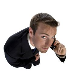 Free Businessman Busy On Phone Call And Looking Upwards Royalty Free Stock Image - 6496956