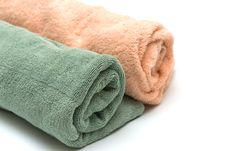 Free Two Towels Braided On The White Stock Photo - 6497000