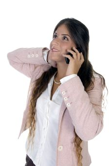 Free Standing Woman Talking On Mobile Royalty Free Stock Photography - 6498107