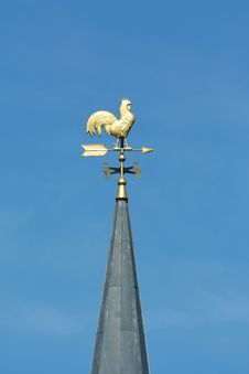 Gold Chicken Weather Vane Royalty Free Stock Images