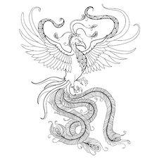 Free Mythological Phoenix Or Phenix Isolated On White Background. Legendary Bird That Is Cyclically Reborn. Stock Image - 64939951