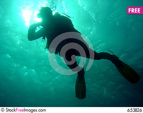Diver dropping down Stock Photo