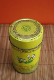 Free Old Chinese Tea Tin On Bamboo - Copy Space Stock Photos - 650553
