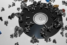 Crashed Diskette And Bolts Stock Images