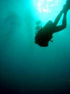 Free Diver Silhouette Stock Photography - 653592