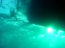 Free Diver With Boat Royalty Free Stock Photography - 653647