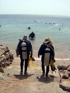 Free Pair Of Divers Royalty Free Stock Image - 653786