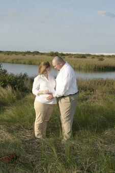 Free Pregnant Couple Outdoors 2 Stock Photo - 654250