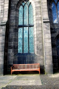 Free Bench By The Church Royalty Free Stock Image - 655166