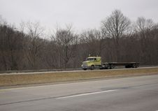 Free Flatbed Semi Truck On The Highway Royalty Free Stock Image - 656256