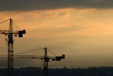 Free Cranes In The Sunset Stock Photo - 659960