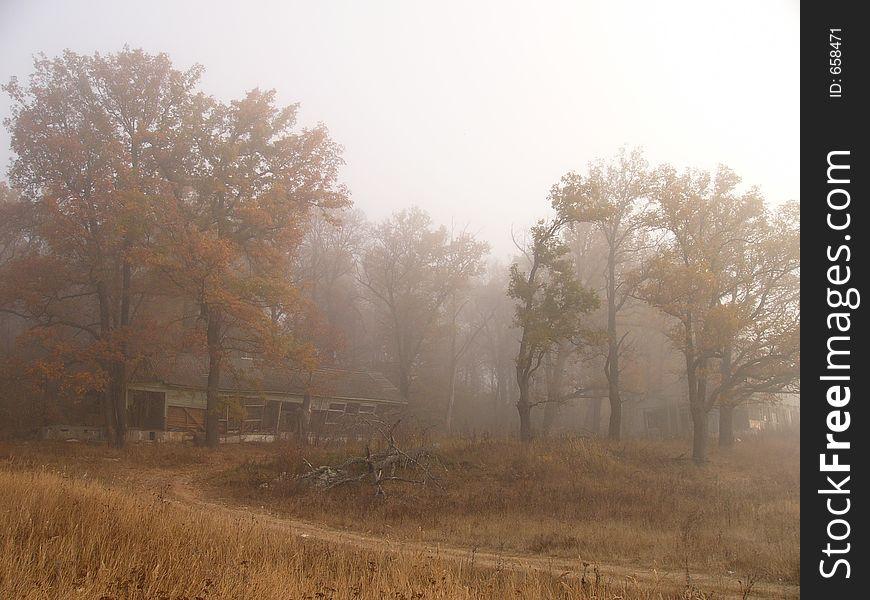 Villa ruins in fog