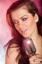 Free Girl Singing In Retro Mic Royalty Free Stock Photo - 6503665