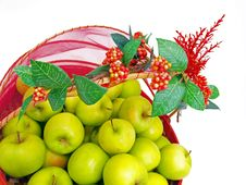 Free Green Apples Basket Deco Royalty Free Stock Photos - 6500438