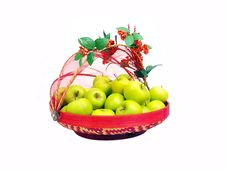 Green Apples Deco Basket One Royalty Free Stock Photos