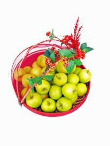 Free Green Apples Deco Basket Top Royalty Free Stock Photography - 6500457