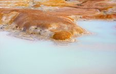Hot Pool With Sulphur Deposits Royalty Free Stock Photo