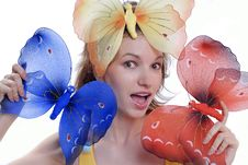 Free Girl With Color Butterflies Isolated On A White Ba Royalty Free Stock Photos - 6501128