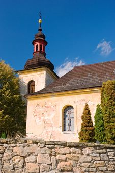 Old Countryside Church Under Bezdez Castle Stock Photos