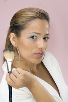 Free Cute Make-up Artist With Brush Royalty Free Stock Photos - 6502498