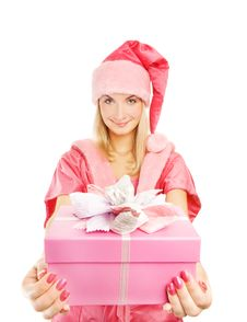 Mrs. Santa With A Gift Box Stock Photo