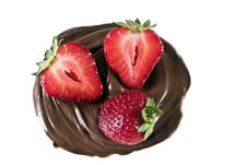Free Strawberry In Chocolate Whirl Stock Photography - 6504462