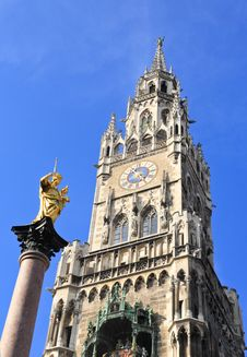 The Marienplatz And City Hall In Center Munich Stock Image