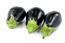 Free Isolated Eggplant With Stem Over White Background Royalty Free Stock Photo - 6505085