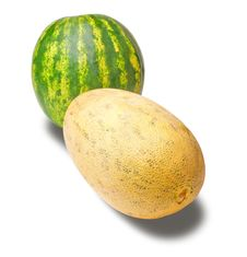 Isolated Cantaloupe And Water Melon Royalty Free Stock Image