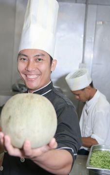 Free Chef Holding Honeydew Melon Royalty Free Stock Photos - 6507828
